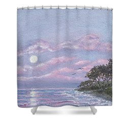 Shower Curtain featuring the painting Tropical Moonrise by Kathleen McDermott