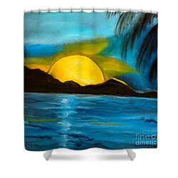 Tropical Moonshine Shower Curtain by Jenny Lee
