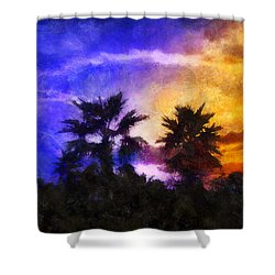 Shower Curtain featuring the digital art Tropical Night Fall by Francesa Miller