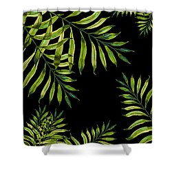 Tropical Night - Greenery On Black Shower Curtain