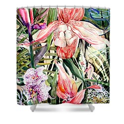 Tropical Orchids Shower Curtain by Mindy Newman