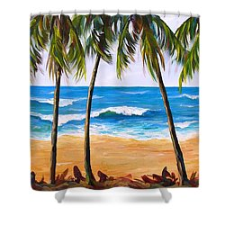 Shower Curtain featuring the painting Tropical Palms 2 by Phyllis Howard