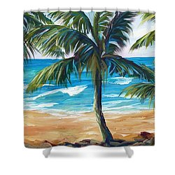 Shower Curtain featuring the painting Tropical Palms I by Phyllis Howard