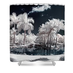 Tropical Paradise Infrared Shower Curtain by Adam Romanowicz