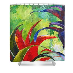 Tropical Paradise Palette Knife  Painting Shower Curtain