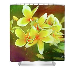 Shower Curtain featuring the photograph Tropical Plumeria Art By Kaye Menner by Kaye Menner