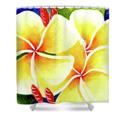 Tropical Plumeria Flowers #226 Shower Curtain by Donald k Hall