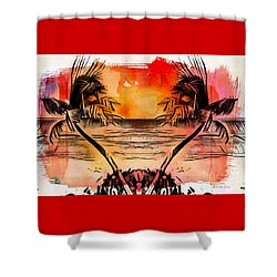 Shower Curtain featuring the digital art Tropical Seascape Digital Art C7717 by Mas Art Studio