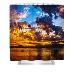 Tropical Twilight I Shower Curtain