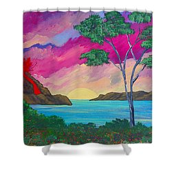 Tropical Volcano Shower Curtain