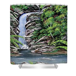 Tropical Waterfall 2 Shower Curtain by Luis F Rodriguez