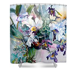 Tropical White Orchids Shower Curtain