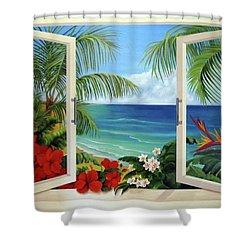 Tropical Window Shower Curtain by Katia Aho