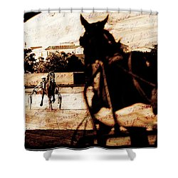 Shower Curtain featuring the photograph trotting 1 - Harness racing in a vintage post processing by Pedro Cardona