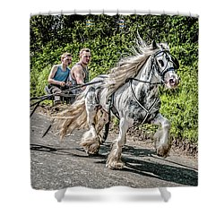 Shower Curtain featuring the photograph Trotting At Appleby Horse Fair by Brian Tarr
