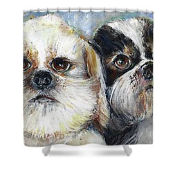 Shower Curtain featuring the painting Trouble And Lexi by Bernadette Krupa