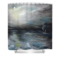 Shower Curtain featuring the painting Troubled Waters by Isabella F Abbie Shores FRSA
