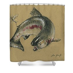 Trout Eating Shower Curtain