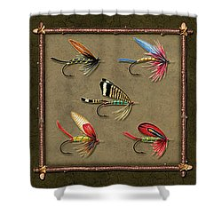Trout Fly Panel Shower Curtain
