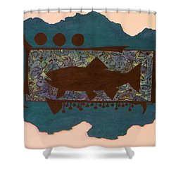 Trout Silhouette Shower Curtain