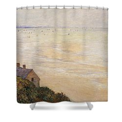 Trouville At Low Tide Shower Curtain by Claude Monet