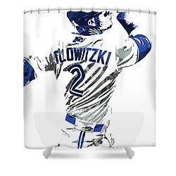 Shower Curtain featuring the mixed media Troy Tulowitzki Toronto Blue Jays Pixel Art 2 by Joe Hamilton