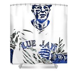 Shower Curtain featuring the mixed media Troy Tulowitzki Toronto Blue Jays Pixel Art by Joe Hamilton