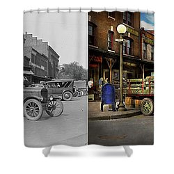 Shower Curtain featuring the photograph Truck - Home Dressed Poultry 1926 - Side By Side by Mike Savad