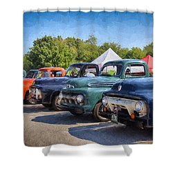 Trucks On Display Shower Curtain by Tricia Marchlik