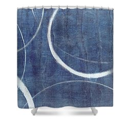 Shower Curtain featuring the painting True Blue Ensos by Julie Niemela