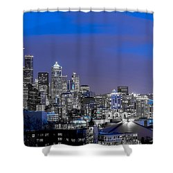 True To The Blue In Seattle Shower Curtain by Ken Stanback