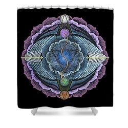 Shower Curtain featuring the painting True Voice by Keiko Katsuta