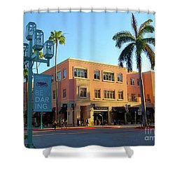 Truluck's Restaurant In Beautiful Mizner Park. Boca Raton, Fl. Shower Curtain