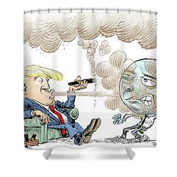 Trump And The World On Climate Shower Curtain