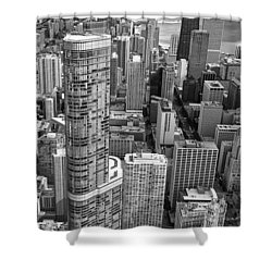 Shower Curtain featuring the photograph Trump Tower And John Hancock Aerial Black And White by Adam Romanowicz