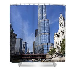 Trump Tower Chicago Shower Curtain by Adam Romanowicz
