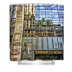 Shower Curtain featuring the photograph Trump Tower With Reflections by Walt Foegelle