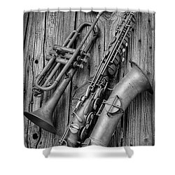 Trumpet And Sax Shower Curtain