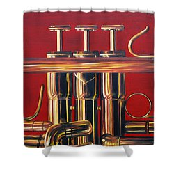 Trumpet In Red Shower Curtain by Emily Page