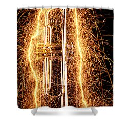 Trumpet Outlined With Sparks Shower Curtain
