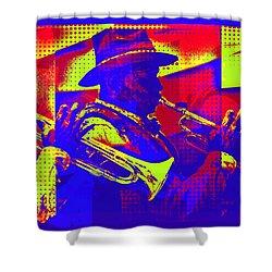 Trumpet Player Pop-art Shower Curtain
