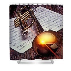 Trumpet With Sunset Shower Curtain