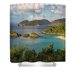 Shower Curtain featuring the photograph Trunk Bay Morning by Adam Romanowicz