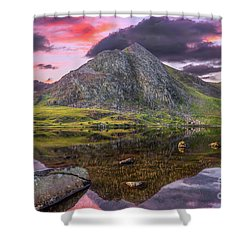 Shower Curtain featuring the photograph Tryfan Mountain Sunset by Adrian Evans
