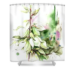 Shower Curtain featuring the painting Trying On Wedding Dress by Anna Ewa Miarczynska