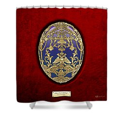 Tsarevich Faberge Egg On Red Velvet Shower Curtain