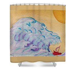 Shower Curtain featuring the painting Tsunami Sun by Rand Swift