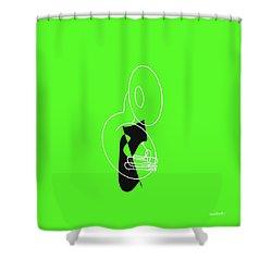Tuba In Green Shower Curtain