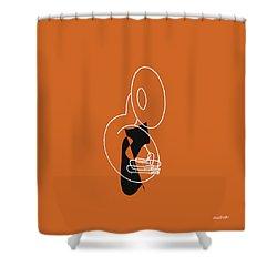 Tuba In Orange Shower Curtain