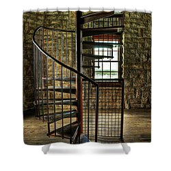 Shower Curtain featuring the photograph Tucker's Tower Spiral Staircase by Tamyra Ayles